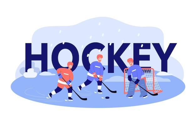Homem com capacetes e uniformes jogando hóquei no gelo