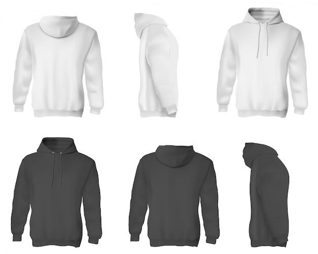 Homem com capuz. conjunto de camisolas masculinas em branco e preto com capuz.