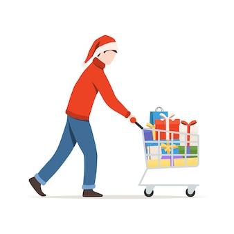 Homem com carrinho cheio de presentes