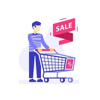 Homem com carrinho de compras vazio, oferta especial, loja de venda ou desconto, consumidor, ilustração plana