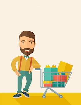 Homem com carrinho de compras