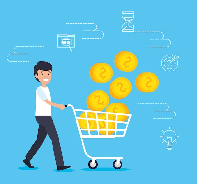 Homem com carro de compras de estratégia e moedas
