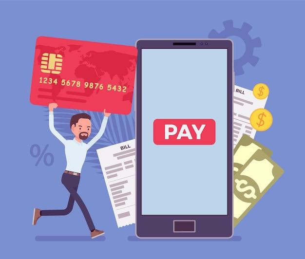 Homem com cartão fazendo contas digitais e pagamentos móveis