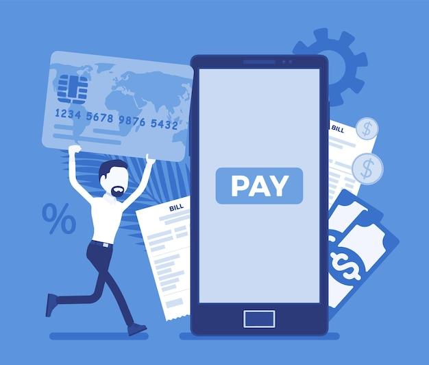 Homem com cartão para fazer contas digitais e pagamento móvel. consumidor masculino, empresário pagando por produtos, suporte, serviço, conteúdo online via smartphone. ilustração vetorial com personagem sem rosto