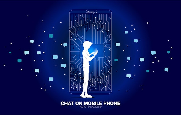Homem com celular e bolha de bate-papo em um telefone celular do estilo de placa de circuito de linha ponto conectar.