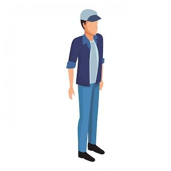 Homem, com, chapéu, avatar, isometric