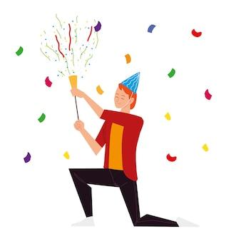 Homem com chapéu de festa e celebração de confete de chifre