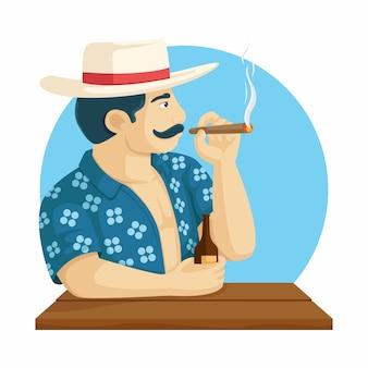 Homem com cigarro e cerveja na mão. ilustração em vetor personagem verão