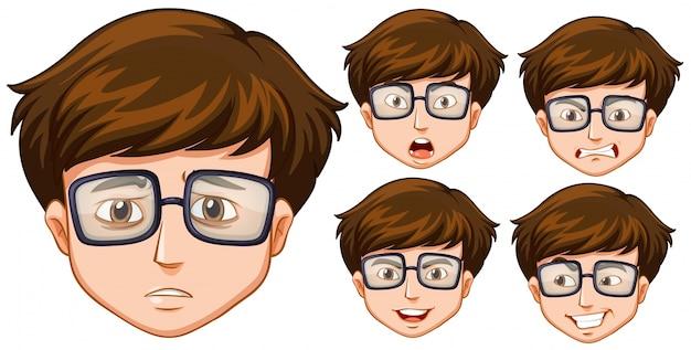 Homem com cinco expressões faciais diferentes
