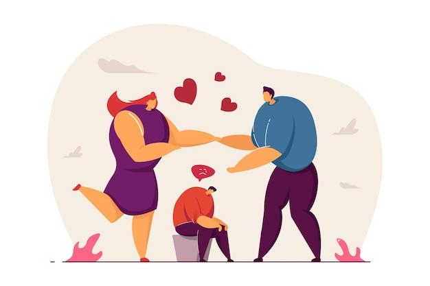 Homem com ciúme do casal feliz. triste personagem masculino com a cabeça baixa, namorado e namorada segurando as mãos ilustração vetorial plana. amor, ciúme, conceito de relacionamento anterior para banner, design de site