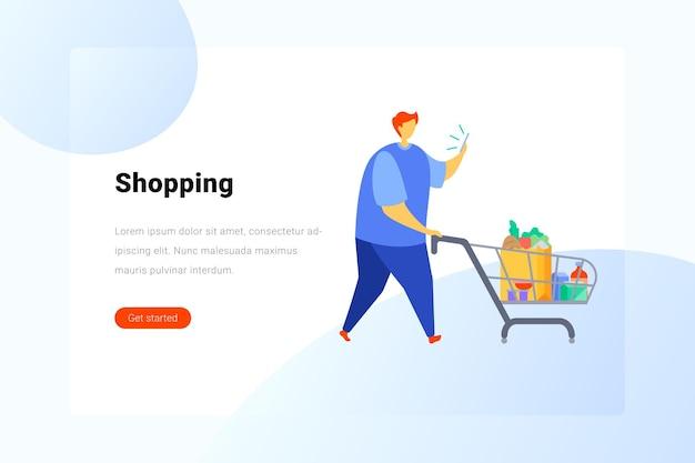 Homem com comida no carrinho de compras olha para smartphone ilustração plana