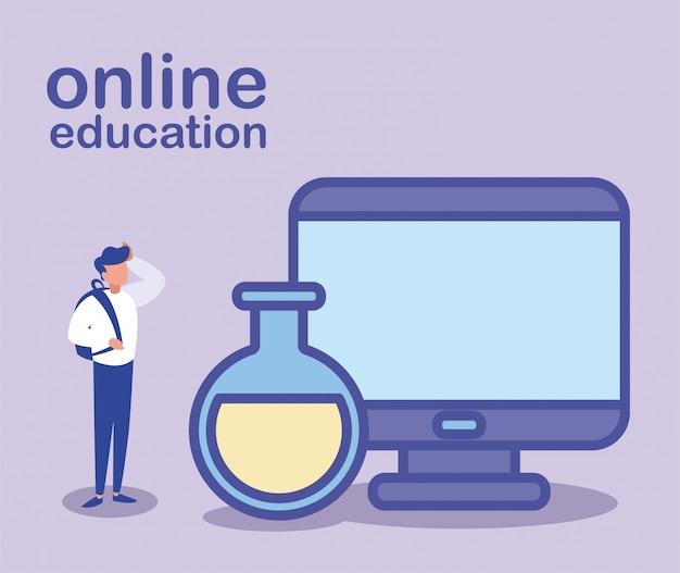 Homem com computador desktop, educação on-line
