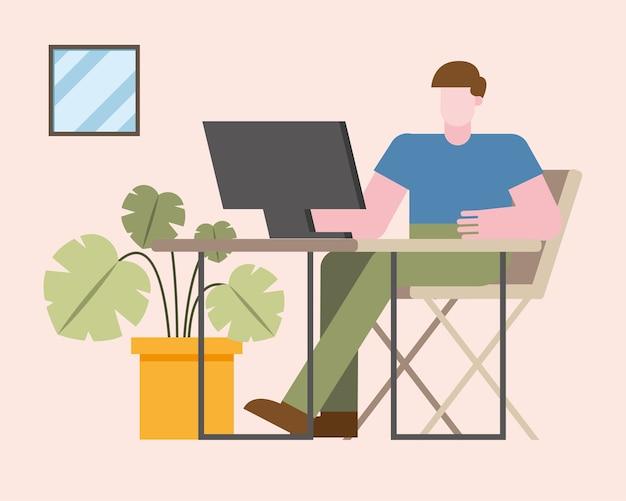 Homem com computador trabalhando na mesa de casa design do tema teletrabalho. ilustração vetorial