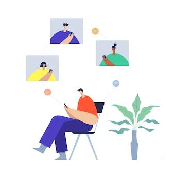 Homem com comunicação por telefone, celular e internet nas redes sociais.