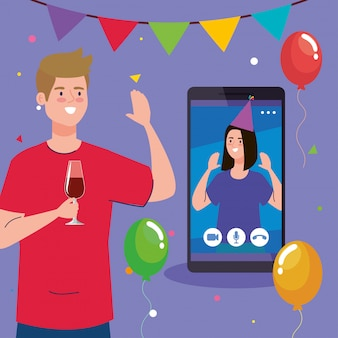 Homem com copo de vinho e mulher em smartphone