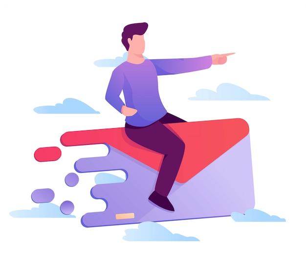 Homem com correio voando ilustração
