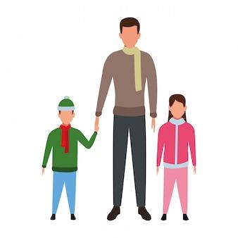 Homem, com, crianças, avatars