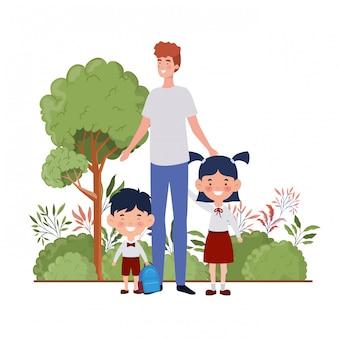 Homem, com, crianças, de, costas escola