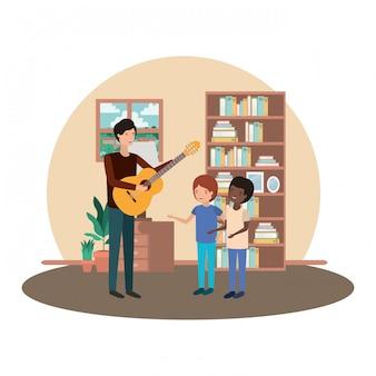 Homem, com, crianças, e, violão, personagem