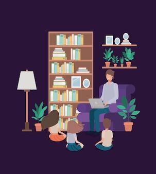 Homem, com, crianças, em, sala de estar, avatar, personagem