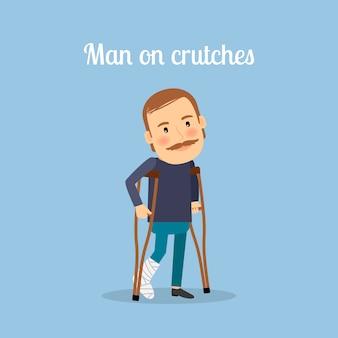 Homem com deficiência de muletas