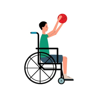 Homem com deficiência em cadeira de rodas jogando esporte jogo ilustração vetorial plana isolada