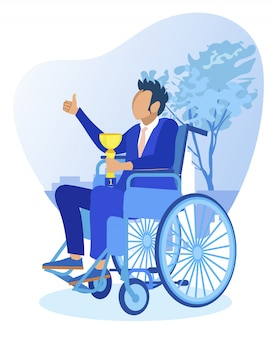 Homem com deficiência em cadeira de rodas, segurando a taça de campeão
