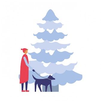 Homem, com, dela, cão, e, pinheiro, inverno, estação