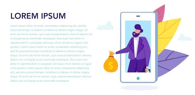 Homem com dinheiro na tela do smartphone. empréstimo online.