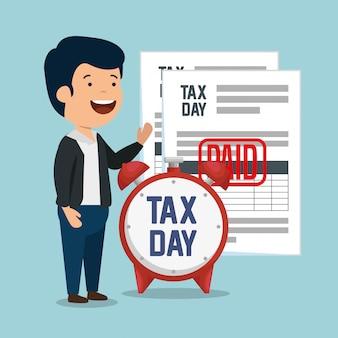 Homem com documentos de relatório de imposto sobre serviços