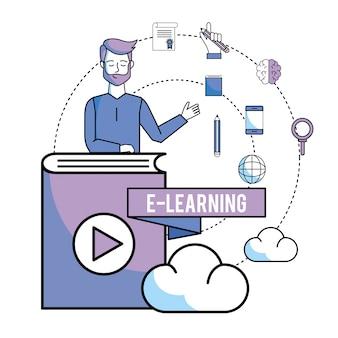 Homem com educação de livros on-line e carga de nuvem
