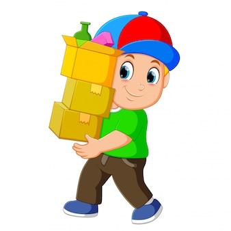 Homem, com, empilhado, caixas