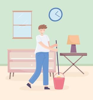 Homem com esfregão limpando