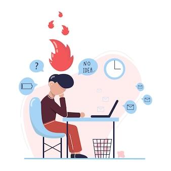 Homem com esgotamento emocional sentado em seu local de trabalho com um computador em um escritório
