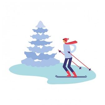 Homem, com, esqui, e, árvore pinho, inverno, estação