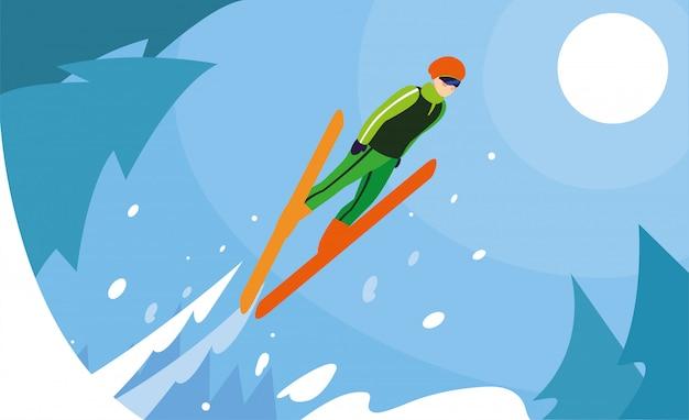 Homem com esqui na montanha, esporte radical de inverno