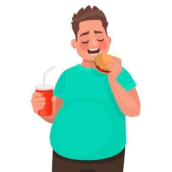 Homem com excesso de peso come fast food. conceito de alimentação inadequada e estilo de vida pouco saudável. no estilo cartoon