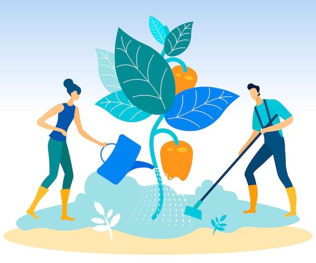 Homem, com, ferramenta jardim, e, mulher, com, planta molhando