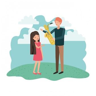 Homem, com, filha, e, saxofone, personagem