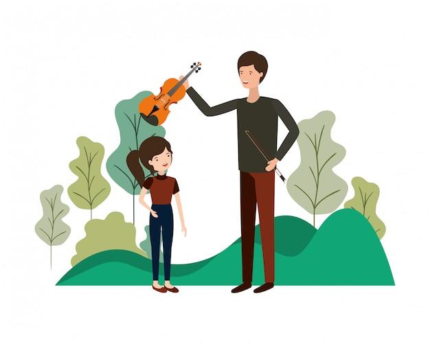 Homem, com, filha, e, violino, personagem