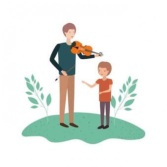 Homem, com, filho, e, violino, avatar, personagem