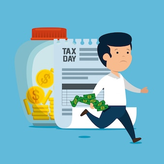 Homem com finanças e moedas de imposto sobre serviços