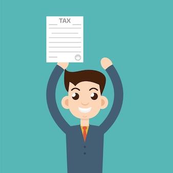 Homem com formulário de imposto