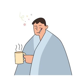 Homem com gripe e resfriado debaixo do cobertor, segurando um chá quente e segurando um termômetro na boca, ilustração de estilo mão desenhada.