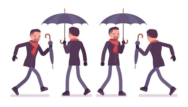 Homem com guarda-chuva andando e correndo, vestindo roupas de outono.