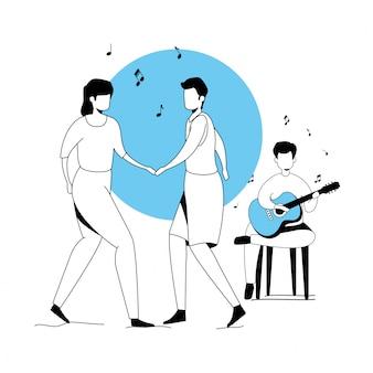 Homem com guitarra e casal dançando