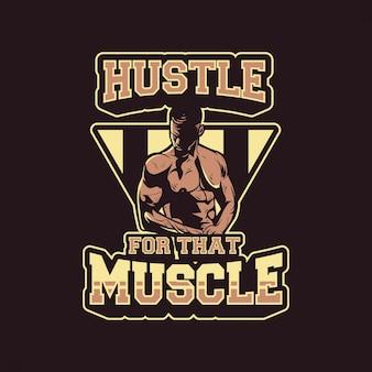Homem com halteres mostrando sua ilustração do músculo
