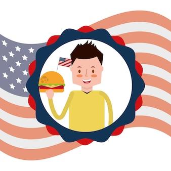 Homem com hambúrguer