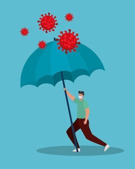 Homem com homem usando máscara facial com guarda-chuva para proteção covid 19 em um desenho de ilustração azul
