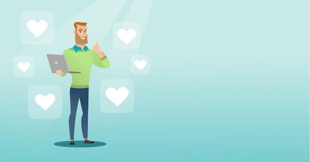 Homem com ícones de laptop e coração.